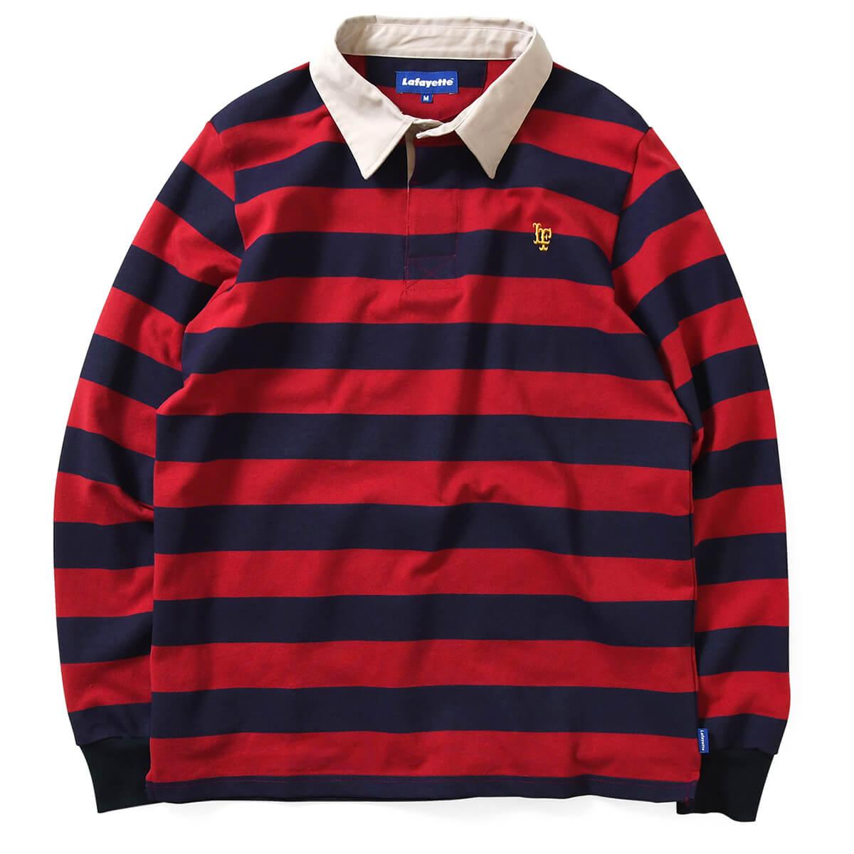 Lafayette ラファイエット ストライプ ラガーシャツ メンズ 男性 トップス シャツ ブランド ストリート LF LOGO STRIPED RUGBY SHIRT LS200301 BURGUNDY バーガンディー