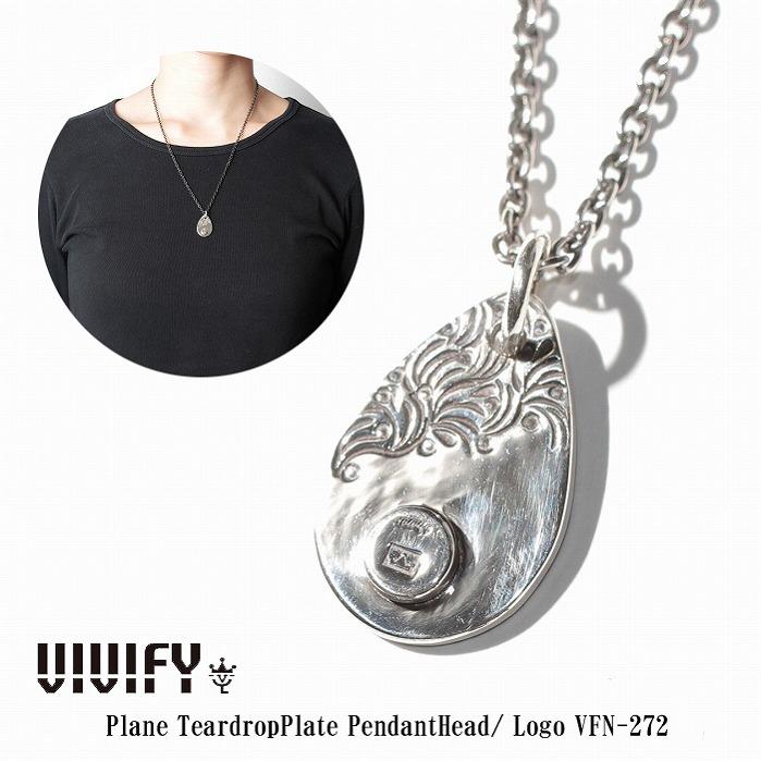 【VIVIFY 正規店】VIVIFY ビビファイ ネックレス シルバー Plane TeardropPlate PendantHead/ Logo