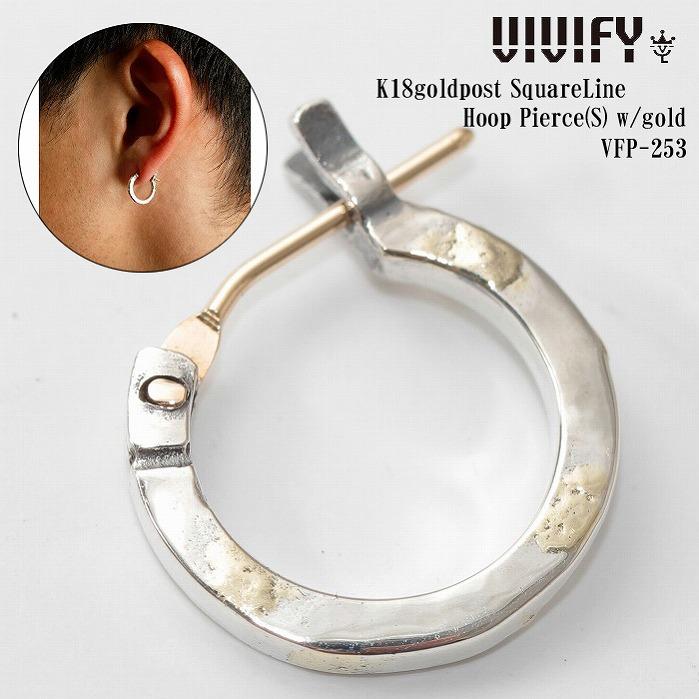 VIVIFY 正規店 VIVIFY ビビファイ ピアス シルバー K18goldpost SquareLine Hoop Pierce Sw gold4AjL35R
