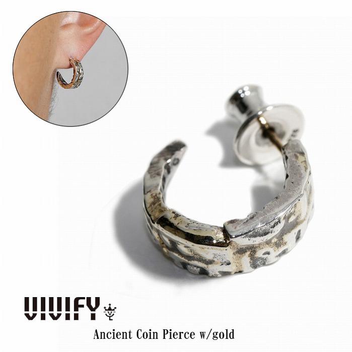 【VIVIFY 正規店】VIVIFY ビビファイ ピアス シルバー Ancient Coin Pierce w/gold