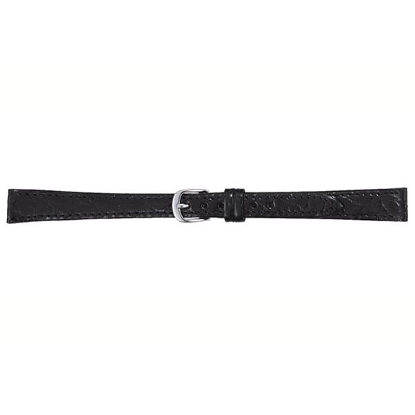 【お取り寄せ】腕時計用レザーバンド 寸長 ワニ 黒 取付幅12mm 8.5