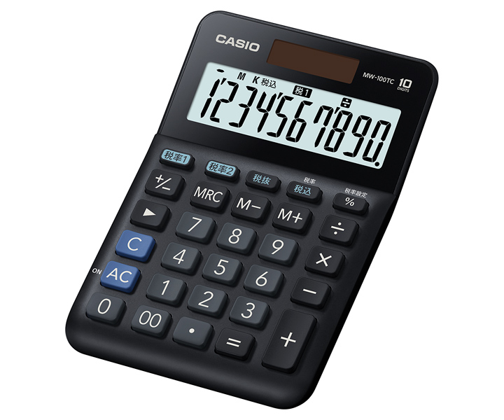 CASIO W税率電卓 税率8% 税率10% 簡単計算 MW-100TC-BK-N カシオ ミニジャストタイプ 10桁 税計算の税率を2通り設定できます。消費税の税込・税抜計算が行えます。税率も自由に設定でき、税金額も表示します。