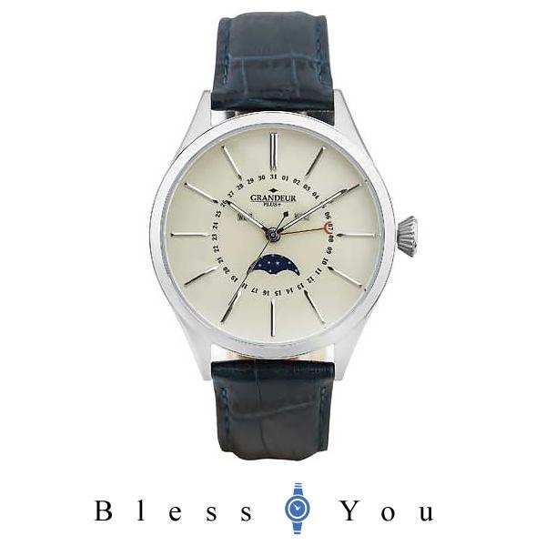 グランドールプラス GRANDEUR PLUS+ トリプルカレンダー  & ムーンフェイズ 革バンド メンズ腕時計 GRP011W1 17,5 mp20