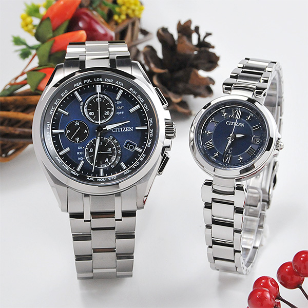 シチズン アテッサ&クロスシー ペアウォッチ blue AT8040-57L-EC1030-50L 158,0 腕時計 ペア