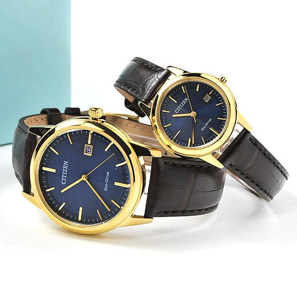 シチズン エコドライブ 革ベルト ペアウォッチ フレキシブルソーラー ブルーカラー メンズ&レディース腕時計 AW1232-21L-FE1082-21L 44,0 正規品 腕時計 カップル ペア ウォッチ ブランド ギフト ペア腕時計