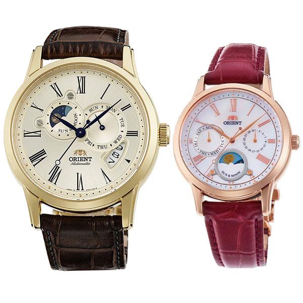 ■SUN&MOON ペアウォッチ オリエント クラシックメカニカル/クラシッククオーツ ペアウォッチ WV0361ET-RN-KA0001A 82,0 ORIENT STAR スタンダード 腕時計 機械式時計とクオーツ時計のペア 太陽と月の描かれた昼夜表示付き