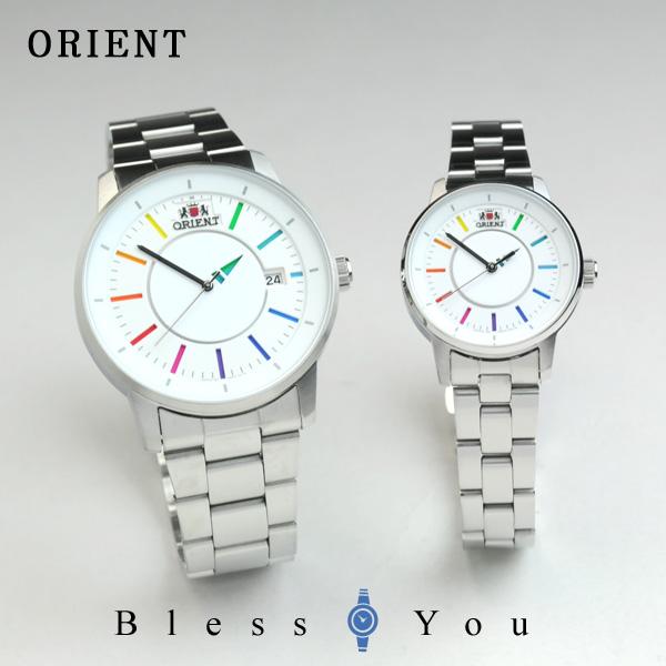 オリエント ペアウォッチ スタイリッシュ&スマート ディスク レインボーホワイト 機械式 WV0821ER-WV0011NB ペア腕時計 カップル ウォッチ ブランド 46,0