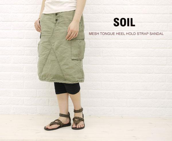 【クーポン利用で20%OFF】【ソイル SOIL】MESH TONGUE HEEL HOLD STRAP SANDAL・ENSL1102M-0341101【レディース】【シューズ】【A-3】