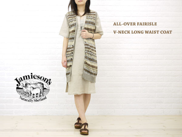 【20%OFFクーポン発行中!】【ジャミーソンズ JAMIESON'S】ALL-OVER FAIRISLE V-NECK LONG WAIST COAT・NJMS1201-0341102【レディース】【トップス】【50】【last_1】