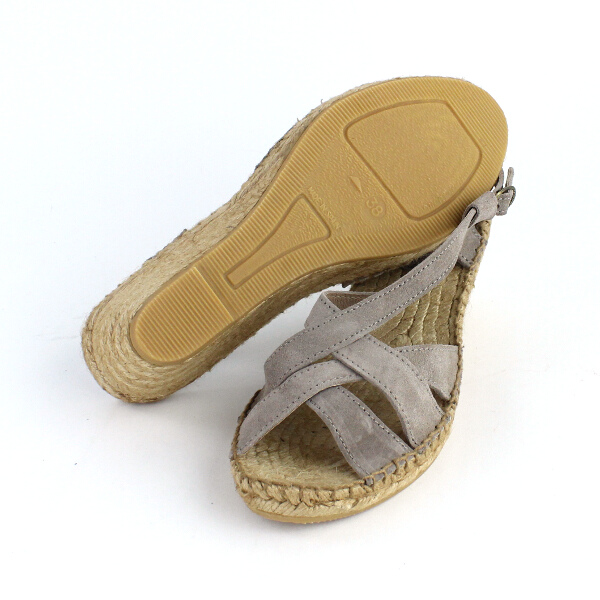 Calzanor( カルザノール) suede double cloth wedge sole sandals, 225S-0311301