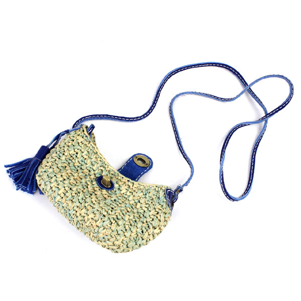 Village de SOA (village du Thor) raffia leather wallet with tassel shoulder bag Pochette-5343201519-0061401