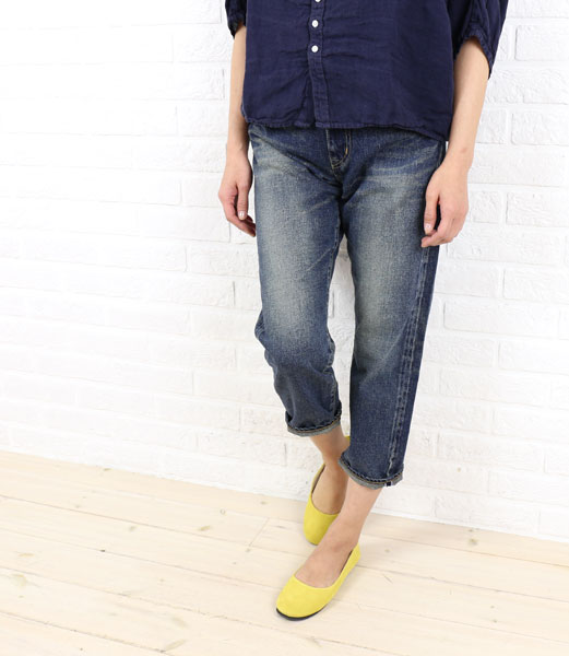 DEEP BLUE (deep blue) cotton boyfriend ankle-length denim pants-73388-1621302