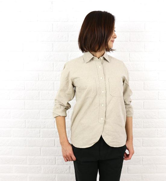 【クーポン利用で30%OFF】【ヴァンブラン Vent Blanc】麻綿 長袖 ワークシャツ・VBF-1451-1701601【レディース】【トップス】【◎】
