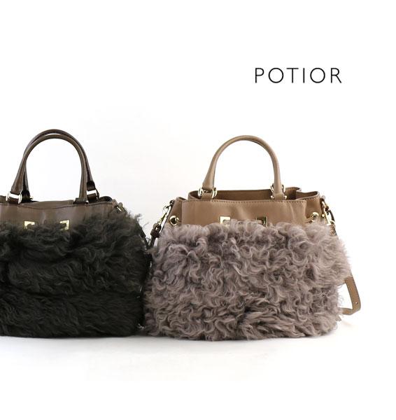 【ポティオール PotioR】レザー ファー付き 巾着 2WAY ショルダーバッグ・CSU-0116-2701602【レディース】【◎】