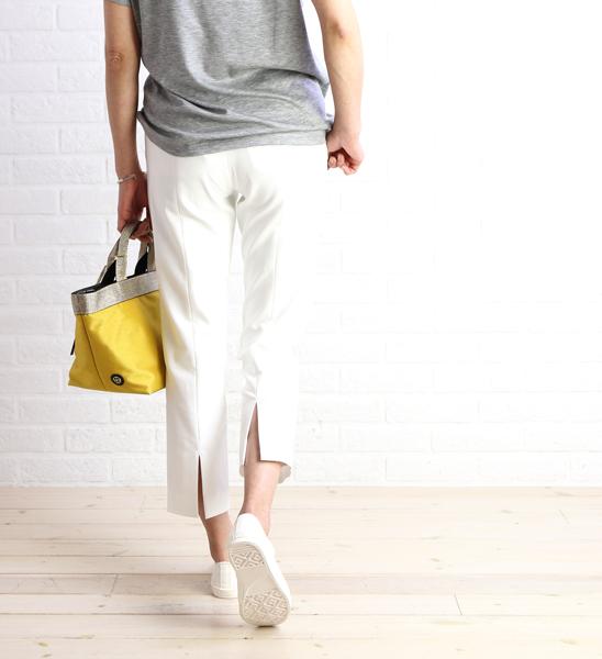 【ブラーミン Brahmin】綿リヨセル 裾スリット入り クロップド パンツ・B33207-0041701【レディース】
