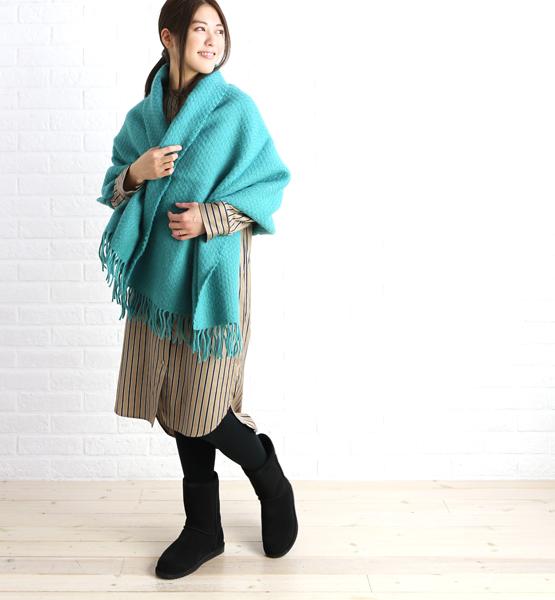 【ツイードミル TWEEDMILL】ウール 無地 大判 ストール ひざ掛け Pure New Wool Wafer Knee Rug 70×183cm・W-KNEERUG-3041702【レディース】【last_1】