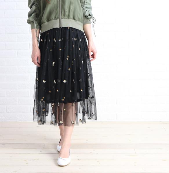 【ベアトリス BEATRICE】 フラワー刺繍 レイヤード チュールスカート・E22113-0041801【レディース】