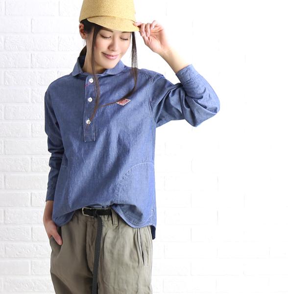 【ダントン DANTON】コットン シャンブレー 長袖 丸襟 プルオーバーシャツ・JD-3564COC-0321901【レディース】【JP】