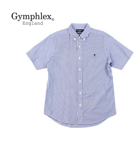 【ジムフレックス Gymphlex】コットン ストライプ 半袖 ボタンダウンシャツ・J-0937TSS-0321901【メンズ】【JP】
