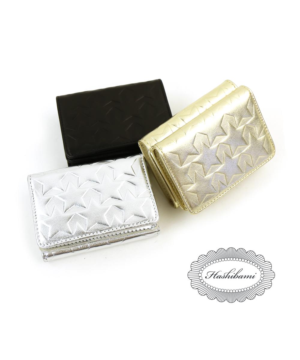 【ハシバミ Hashibami】シープレザー スタースタンプ ミニ財布 ミニウォレット 三つ折り財布・HA-1706-416-3841802【レディース】【◎】