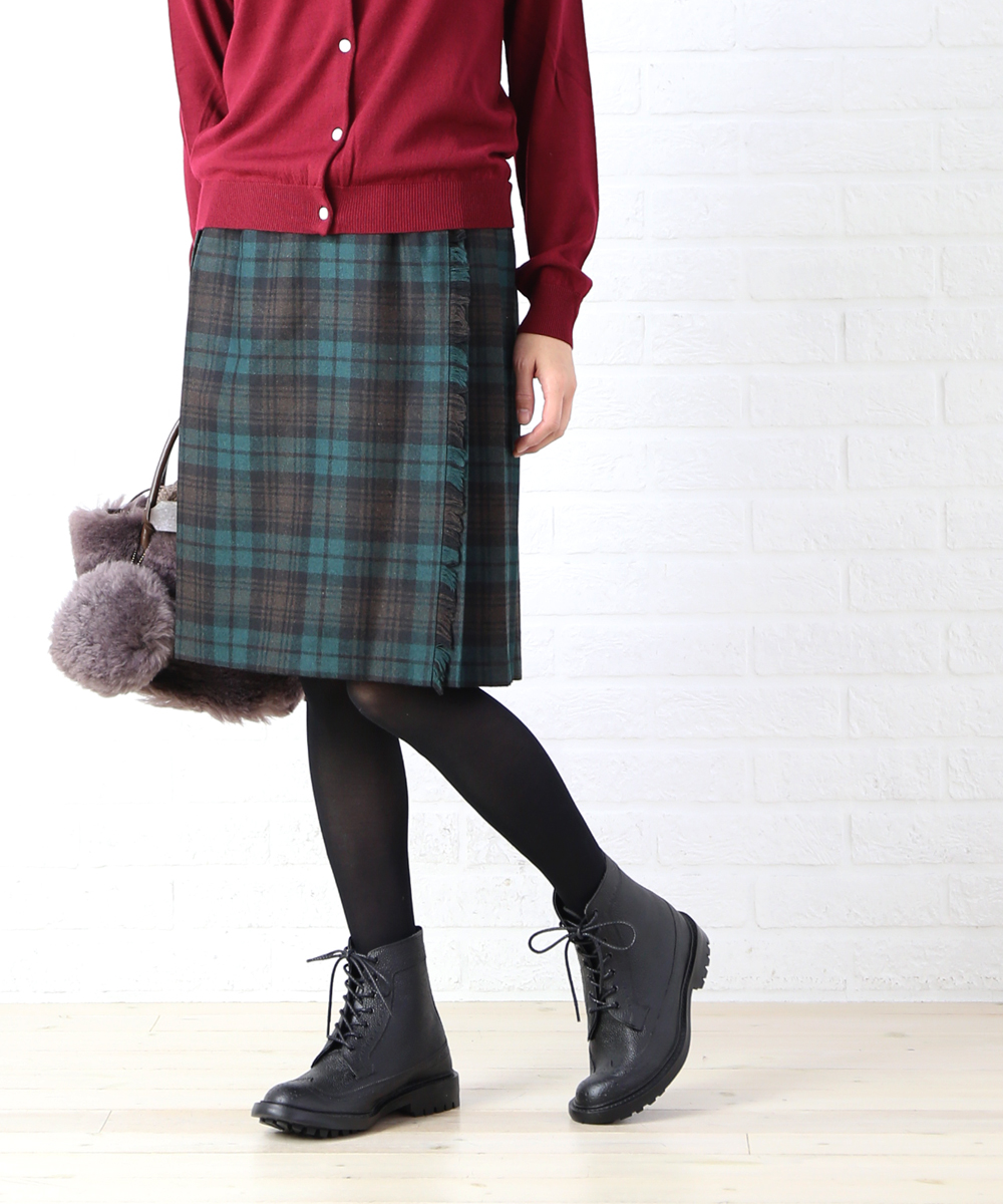 【クーポン利用で30%OFF】【オニールオブダブリン O'NEIL OF DUBLIN】ウール混 膝丈 キルトスカート ラップスカート・5059-1791802【レディース】【JP】【◎】