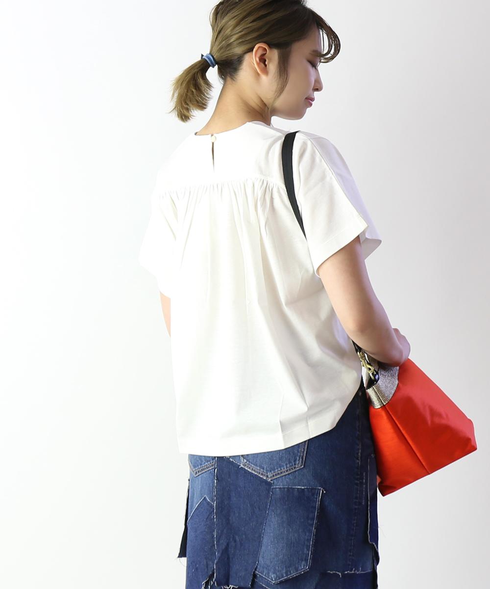 【サクラ SACRA】コットンリネン バックギャザー Tシャツ 半袖カットソー・119162022-3341901【レディース】【◎】