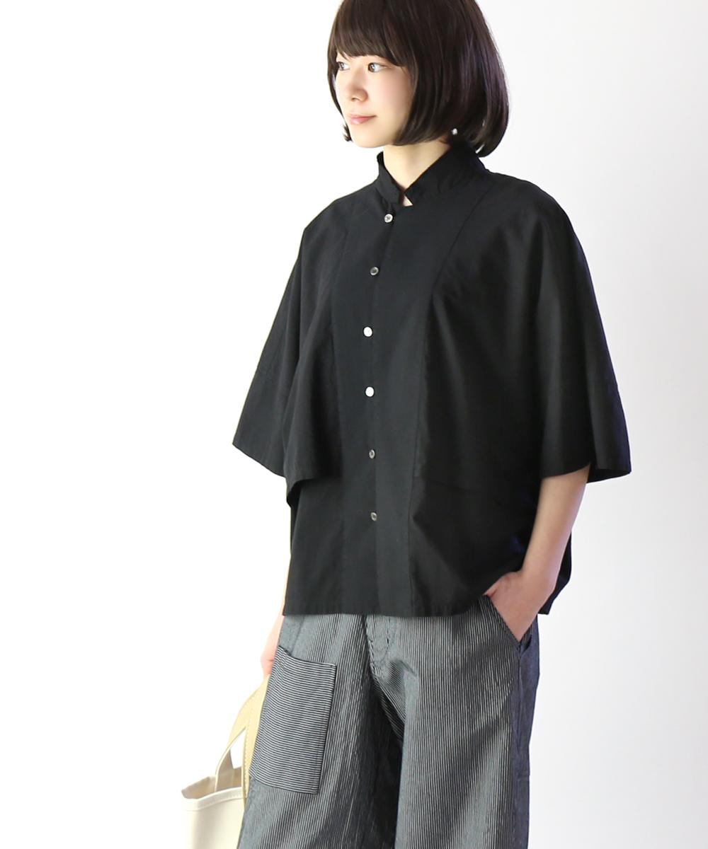 【ファクトリー FACTORY】ペルー綿 スタンドカラー トレンチシャツ・B-22-2711901【レディース】