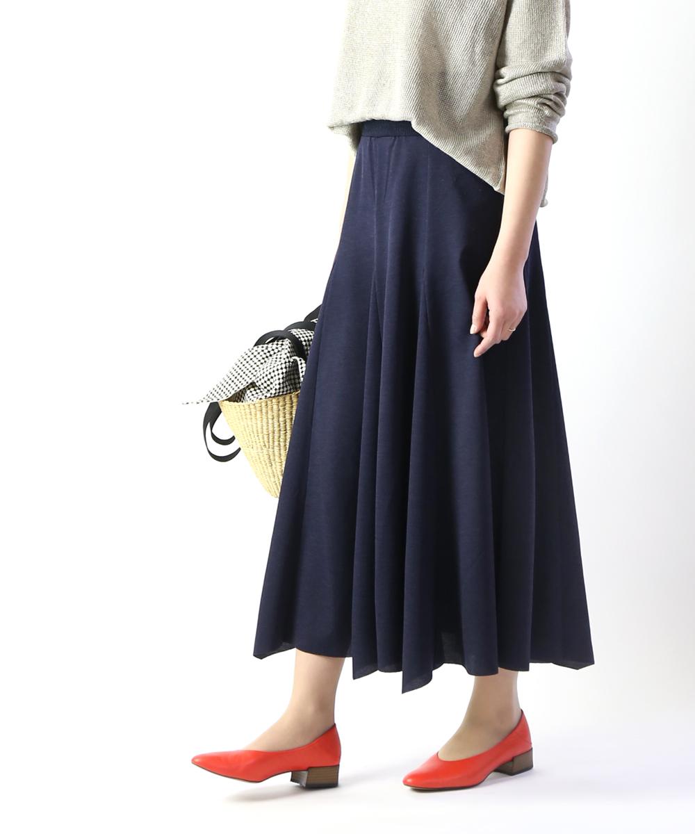 【ププラ PUPULA】リネンライク フレアスカート ロングスカート・197054-0141901【レディース】