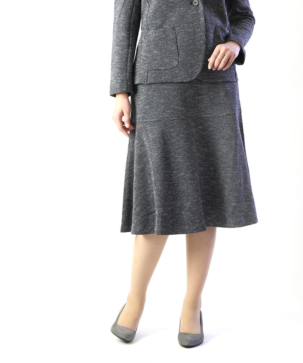 【ププラ PUPULA】コットンツイード 切り替え ツィードスカート Aラインスカート 膝丈スカート・197049-0141901【レディース】
