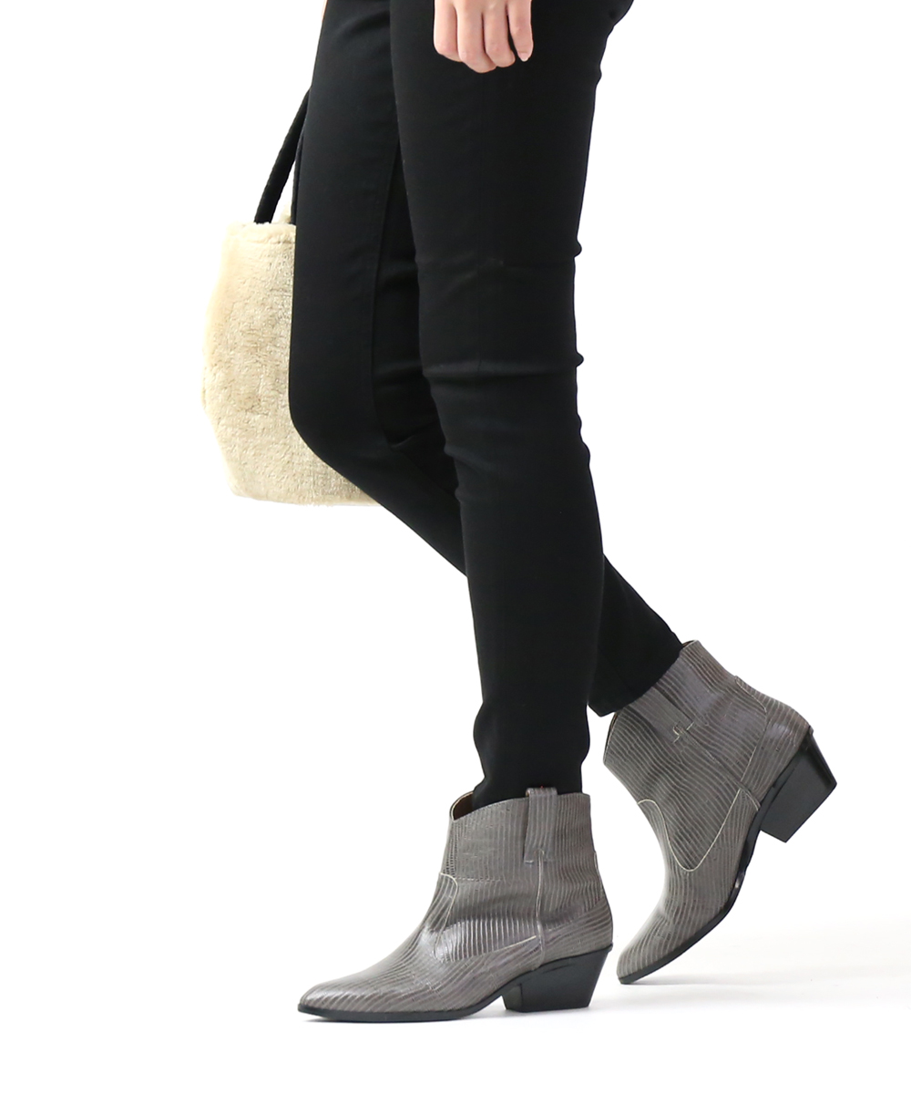 【20%OFFクーポン発行中!】【アトリエブルージュ atelier brugge】型押しレザー ウエスタンブーツ ショートブーツ・19PS-19-0751902【レディース】【◎】
