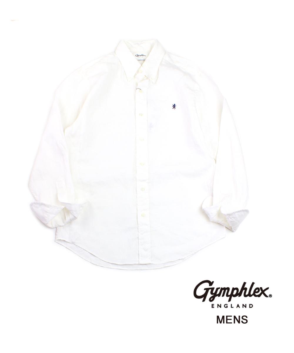 【ジムフレックス Gymphlex】メンズ リネンクロス ボタンダウンシャツ 長袖シャツ リネンシャツ・J-0643KLS-0322001【メンズ】【JP】【■■】【クーポン対象外】