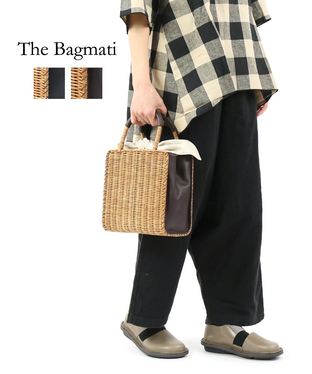 【バグマティ The Bagmati】ウィッカー×レザー スクエア かごバッグ ハンドバッグ・BBK18-02-0242001【レディース】
