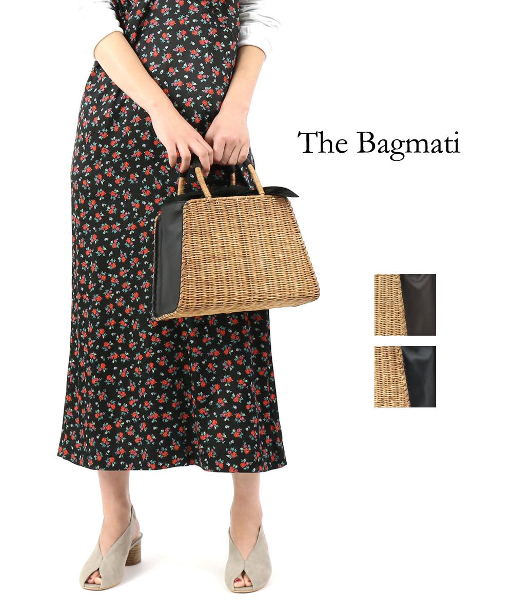 【バグマティ The Bagmati】ウィッカー×レザー 台形 かごバッグ ハンドバッグ・BBK18-03-0242001【レディース】