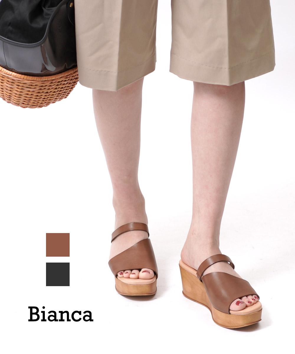 【ビアンカ Bianca】バケッタレザー 厚底 プラットフォーム ウェッジサンダル 厚底サンダル レザーサンダル・1075-VA-0242001【レディース】【◎】