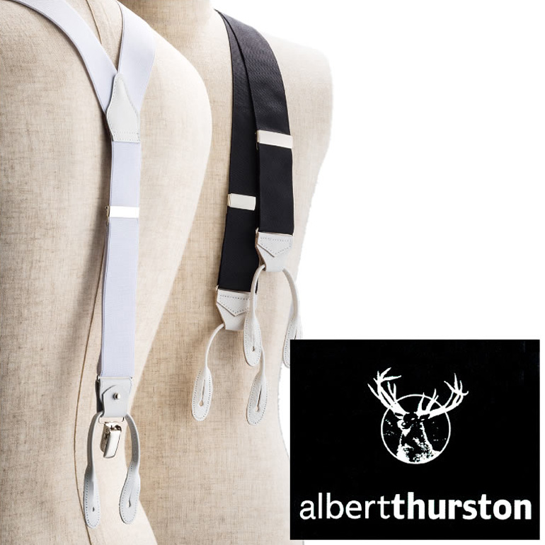 アルバートサーストン サスペンダー ALBERT THURSTON メンズ[フォーマル 結婚式 ブライダル パーティー ビジネス 紳士用 ブランド イギリス 英国 ボタン クリップ 2WAY 黒 ブラック 白 ホワイト]【送料無料】