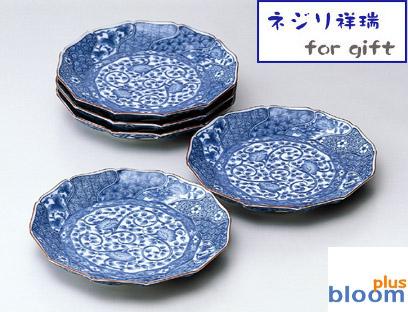 【送料割引対象品】美濃焼/5枚ギフト箱入りネジリ祥瑞大皿 径22.5cm【染付,皿,大皿】【tableware,dish,made in japan】bloom-plus】