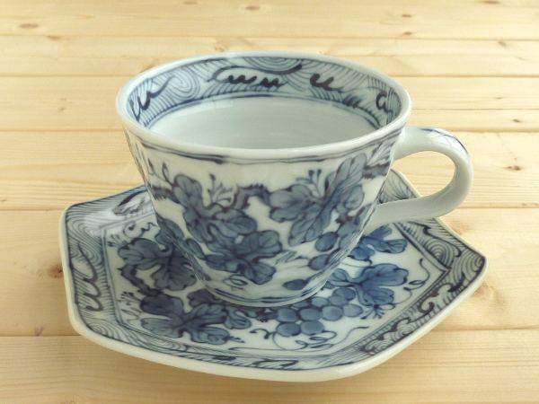 六角のお皿が面白い♪ 美濃焼 アウトレット ギフト対象外 染付ぶどうコーヒーカップ&ソーサー 径9.5x高7cm【コーヒー,葡萄,ぶどう】【Coffee cup,made in japan】【bloom-plus】