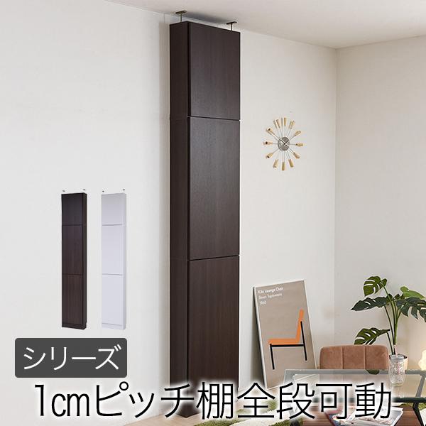 本棚 薄型 扉付き 上置き付き 天井 つっぱり 壁面本棚 棚 棚板 12段 1cmピッチ 可動 スリム 幅41.5 奥行16.5 シンプル