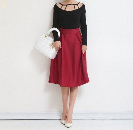 2e52ba5ad4a1e bloomingshop: Lovely mature! Plain fabric knee-length A-line flare ...