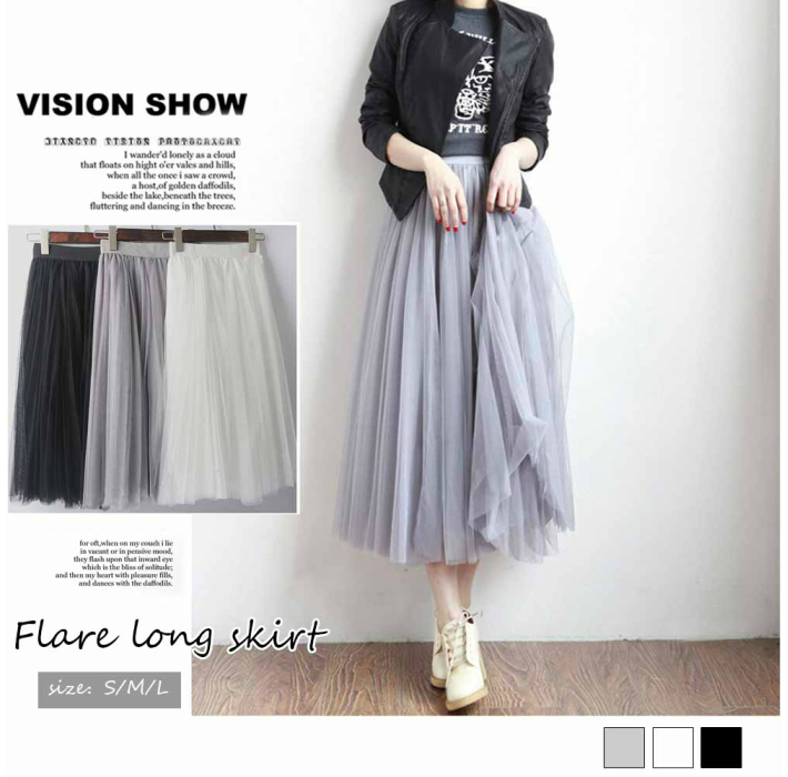 6180af611 Tulle skirt long volume adult maxi waist rubber black and white gray ...