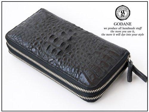 【ゴダン】GODANE 本革クロコダイル黒 ダブルラウンドファスナー 高品質メンズ長財布 ブラックロングウォレット10P03Dec16