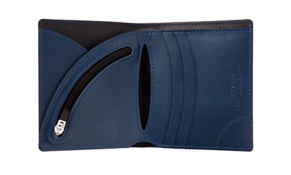 【Vintage Revival(ヴィンテージリバイバル)】日本製 ヌメ革 レザー ウォレット スマート 二つ折財布 プレゼントにも最適 短財布 ネイビー10P03Dec16