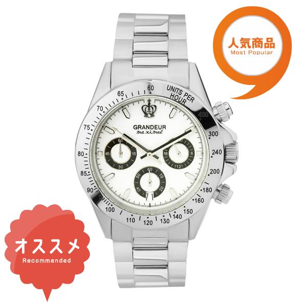 ≪日本製≫紳士用 クロノグラフ 腕時計 メタルバンド(金属バンド)メンズウォッチ クオーツGRANDEUR(グランドール) 腕時計 文字盤:白、クロノグラフ:黒 [jgr004w1]