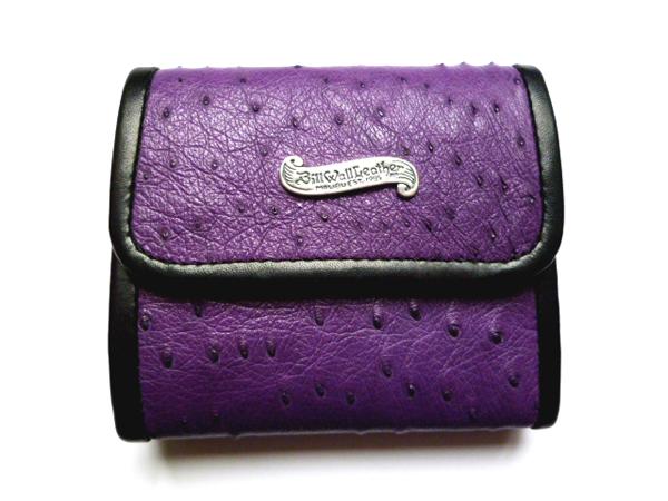 セール! BILL WALL LEATHER(ビルウォールレザー) オーストリッチ 紫 二つ折り 財布 ZIGGY LG CURRENCY BILLFOLD ウォレット BWL