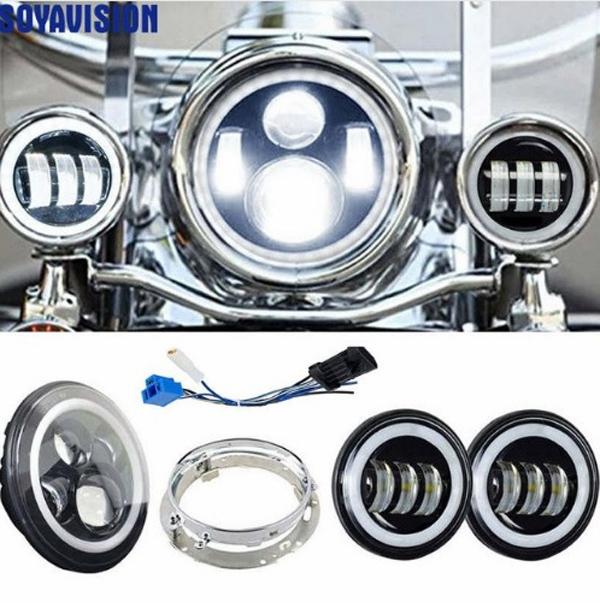 【2倍ポイント】■ハーレー LEDヘッドライト イカリング仕様 7インチ+4.5インチフォグライト フルセット ブラック■ツーリングモデル/ソフテイル Harley Davidson 補助ライト
