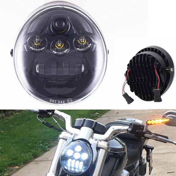 ハーレーダビッドソン 新品■送料無料■ 直輸入品激安 パーツ チョッパー ボバー カスタム LED ヘッドライト Harley 2002-2016年 ブラック Davidson VRSCA VRS V-ROD ハーレー