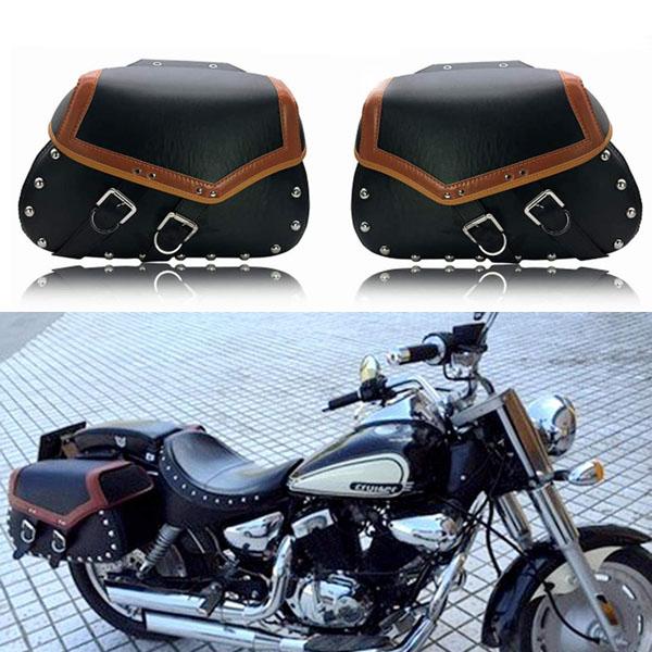 アメリカン サドルバッグ サイドバッグ 大容量収納 ツールバッグ 左右セット PUレザー ハーレー ホンダ ヤマハ カワサキ スズキ