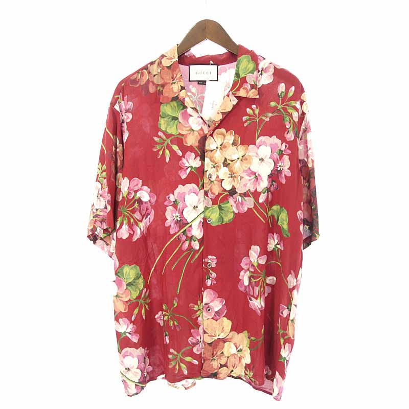 d7a6a92834b9 46 Gucci /GUCCI floral design aloha short sleeves shirt size men red system  multi- ...