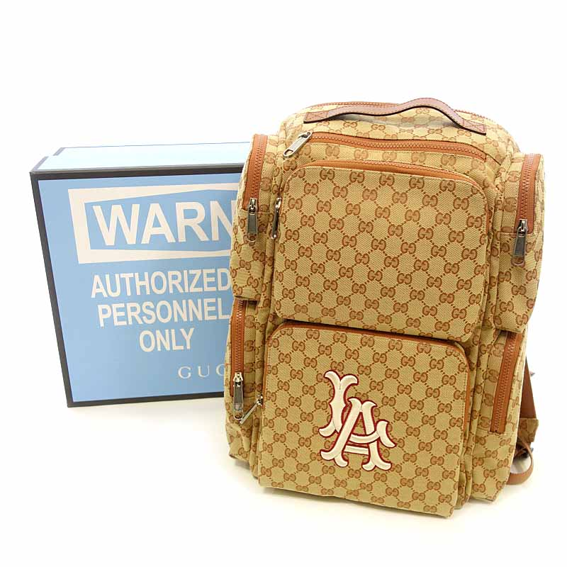 8d6cc2c35726 Rank S 102 62B19 of Brown whom there is no Gucci /GUCCI 18AW LA Angels patch  large backpack rucksack size men notation in line