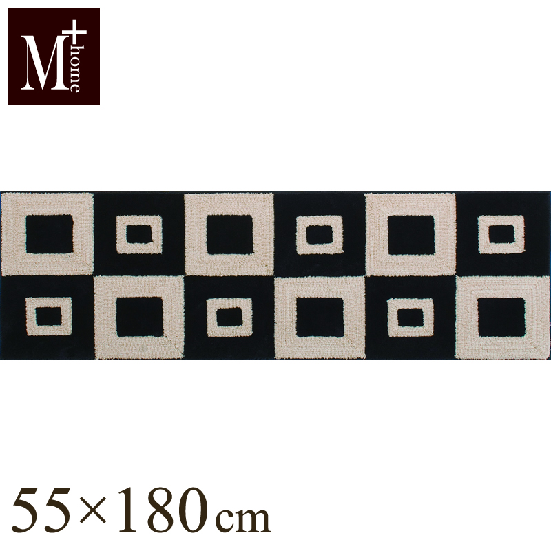 【M+HOME】フランクリン インテリアマット 55×180cm ベージュ(キッチンマット/ワイド/日本製/北欧風/洗えるマット/モダン/滑り止め加工/アクセントマット)楽ギフ_ ´